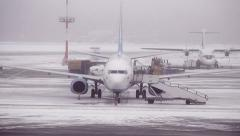 After a snowfall at the airport - stock footage