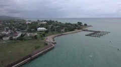 Falmouth Jamaica downtown Caribbean marina overhead HD 054 Stock Footage