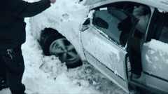 Car wheel skidding in the snow Stock Footage