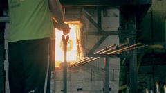 Glass manufacturing process Stock Footage