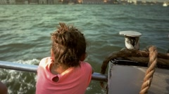 Little girl enjoying the sea from ferry boat Stock Footage