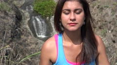 Woman Practicing Yoga Outdoors Stock Footage