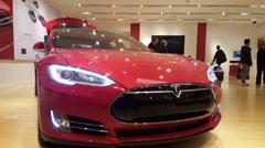 Tesla Model S car on display in Palo Alto, CA - stock footage