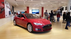 Tesla Model S car on display in Palo Alto, CA Stock Footage