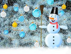 Snowman snow and New Year tree Stock Illustration