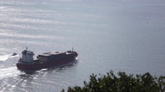"SETUBAL, PORTUGAL - Jan 28, 2016: Container ship ""Capella"" leaving Setubal port Stock Footage"