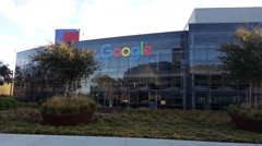 Exterior view of Google's Googleplex Corporate headquarters in Mountain View, CA Stock Footage