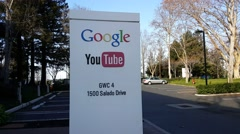 Exterior view of Google's Youtube office in Mountain View, CA Stock Footage