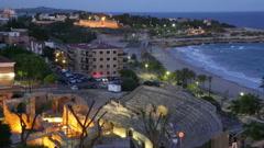 The Roman amphitheater in night. Tarragona, Spain Stock Footage