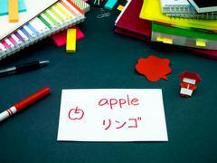 Learning New Language Making Original Flash Cards; Japanese Stock Photos
