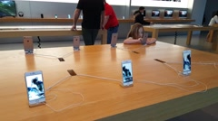 Apple iPhone 6s on display in Apple store in Palo Alto, CA - stock footage