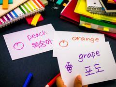 Learning New Language Making Original Flash Cards; Korean Stock Photos