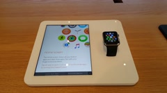Apple watch on display in Apple store in Palo Alto, CA - stock footage