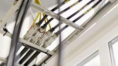 Indoor station wires - stock footage