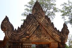 Intricate carvings  at Banteay Srei - stock photo