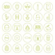 Line Circle Orthodox Easter Icons Set - stock illustration