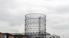 Gas holder , old XIX century industrial architecture in Rome, Italy Stock Footage
