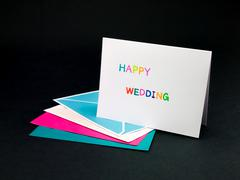 Message Card for Your Family and Friends; Happy Wedding Stock Photos