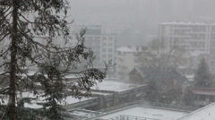 Snowfall in city. Winter view Stock Footage
