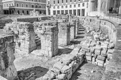 The Roman amphitheatre in Sant'Oronzo square, Lecce, Salento, Italy Stock Photos