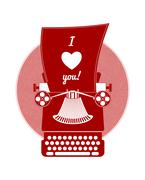 Valentines day greeting card with lettering, typewriter, heart and other Stock Illustration