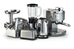 Metallic kitchen appliances. Blender, toaster, coffee machine, meat ginder an - stock illustration