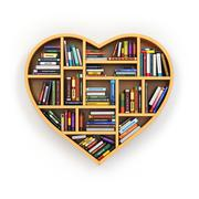 Education concept. Bookshelf with books and textbooks in form of heart. I lov - stock illustration