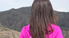 Young Woman Enjoying Mountains Stock Footage