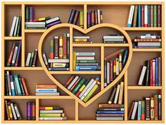 Stock Illustration of Education concept. Bookshelf with books and textbooks in form of heart. I lov