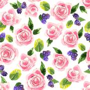 Pattern with tender pink roses, bluberries and green leaves - stock illustration