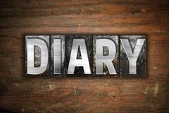 Diary Concept Metal Letterpress Type - stock illustration
