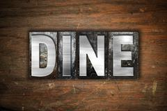 Dine Concept Metal Letterpress Type - stock illustration