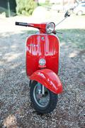 SANTA MARINELLA, LAZIO, ITALY - SEPTEMBER 28, 2014: Red vintage 50s Vespa Sco Stock Photos