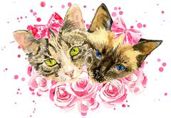 Fashionable watercolor cats  in pink roses isolated on white background - stock illustration