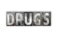 Drugs Concept Isolated Metal Letterpress Type Stock Illustration