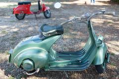 SANTA MARINELLA, LAZIO, ITALY - SEPTEMBER 28, 2014: Green vintage 50s Vespa S - stock photo