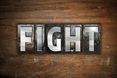 Fight Concept Metal Letterpress Type - stock illustration