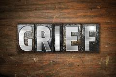 Grief Concept Metal Letterpress Type Stock Illustration