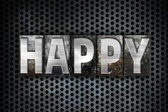 Happy Concept Metal Letterpress Type - stock illustration