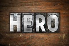 Hero Concept Metal Letterpress Type - stock illustration