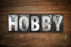 Hobby Concept Metal Letterpress Type - stock illustration
