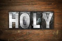Holy Concept Metal Letterpress Type - stock illustration