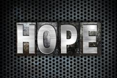 Hope Concept Metal Letterpress Type - stock illustration