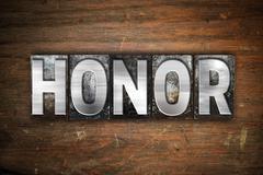 Honor Concept Metal Letterpress Type - stock illustration