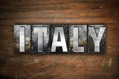 Stock Illustration of Italy Concept Metal Letterpress Type