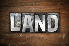 Land Concept Metal Letterpress Type Stock Illustration
