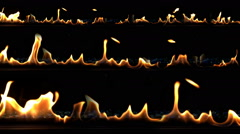 Rows of Slow Motion Fire Closeup Stock Footage