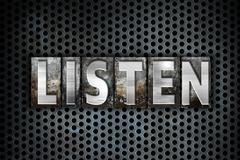 Listen Concept Metal Letterpress Type Stock Illustration