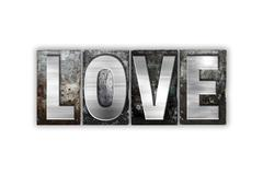 Love Concept Isolated Metal Letterpress Type - stock illustration
