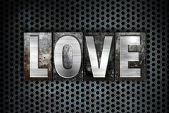 Love Concept Metal Letterpress Type Stock Illustration